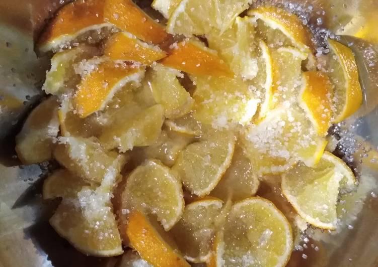 Лимоны в сахаре - заготовка в холодильнике